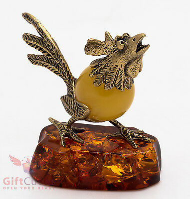 Solid Brass Amber Figurine bird Wild Rooster chicken IronWork