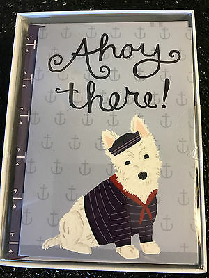 MOLLY & REX Nautical WESTIE Dog BOX set 12 Note Cards & Envelopes AHOY THERE!