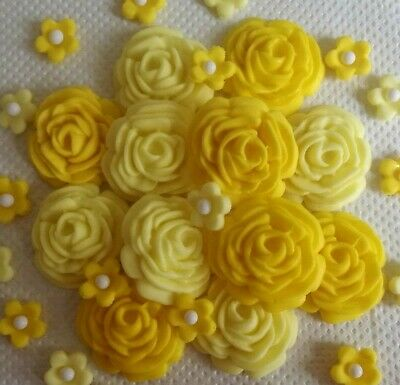32 SHADES OF YELLOW ROSES AND FLOWERS Edible cake topper Wedding anniversary bir