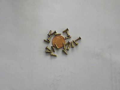 """20 #3 3/8""""  SLOTTED BRASS WOOD SCREWS w/ FLAT HEAD FOR ANTIQUE CLOCK REPAIR"""