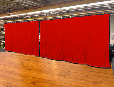 Lot of (2) Red Curtain/Stage Backdrop, Non-FR, 10 H x 20 W