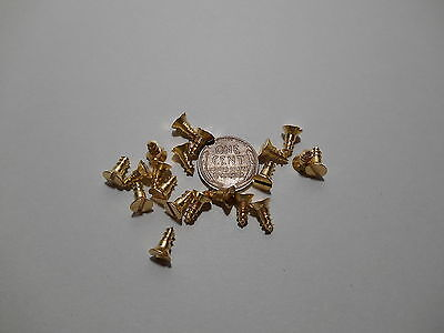 """20 #6 3/8""""  SLOTTED BRASS WOOD SCREWS w/ FLAT HEAD FOR ANTIQUE CLOCK REPAIR"""