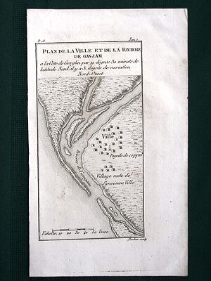 Ganjam India River Mouth orig 19th Century French Map
