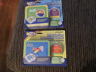 Active Minds Alphabet First Words Interactive Learning Cards Cartridge Lot Of 2
