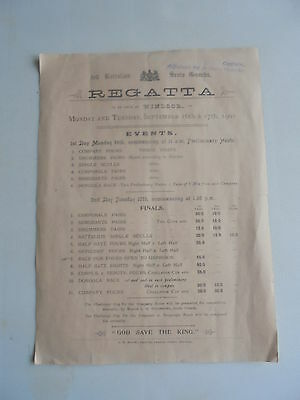 1901 Regatta Windsor Scots Guards Programme Rowing