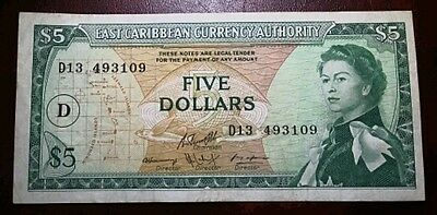 East Caribbean Currency Authority $5 Dollar Banknote (Rare P14j) 1965 VF+
