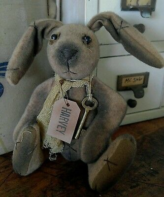 Primitive Country Bunny / Rabbit Fabric Display Doll - Rustic Home Decor