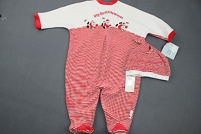 Baby Boy HOLIDAY Sleeper 9 months 2pc Pajama Set Red Striped MY FIRST CHRISTMAS