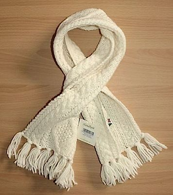 Carraig Donn - Little Kids - Ivory Cream Merino Wool Hand Knit Cable Fringe Scar