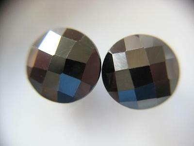 2 HÄMATITE  -  ROUND CHECKERBOARD  -  10 mm  -  12,81 ct.