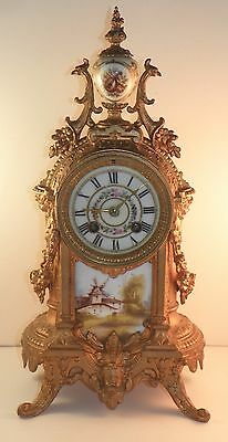 Gilded French Clock With Sevres Style Porcelain Plaques.  Late 19th Century.