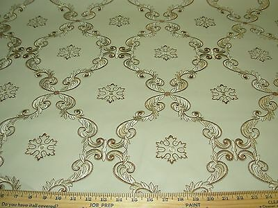 ~7 5/8 Yds~Vinyl~Medallions~Embroidered Faux Leather Upholstery Fabric For Less~