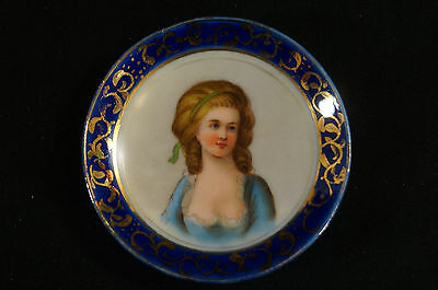 Cobalt & Gold Sevres Style Hand Painted Lady Portrait Butter Pat Circa 1890s