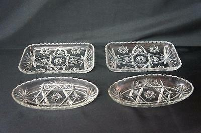 4 Pcs Anchor Hocking EAPG Star of David Trays Platters, 2 Rectangle 2 Oblong