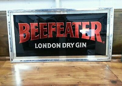 """Vintage N.o.s. """"beefeater London Dry Gin"""" Advertising Bar Mirror."""