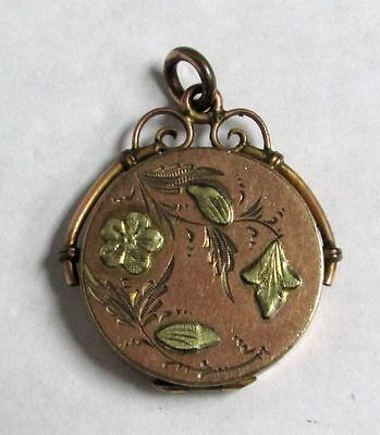 Antique Gold Filled With Applied Actual Green Gold Double Photo Locket