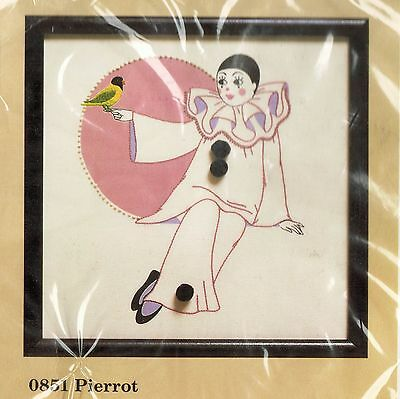 "1987 Creative Circle Pantomime Clown Pierrot Candlewick Embroidery KIT 13"" x 13"""