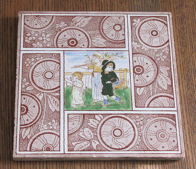 "ANTIQUE VICTORIAN 6"" TILE CHILDREN PICKING FLOWERS BACKSTAMP R repaired RARE"