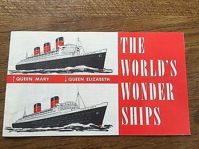 c1950s Advertising Facts Leaflet CUNARD LINE Queen Mary Elizabeth Cruise Liner