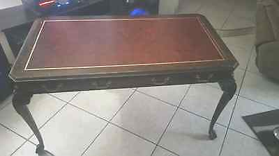 DREXEL Vintage Leather Top Chippendale Style Writing Desk