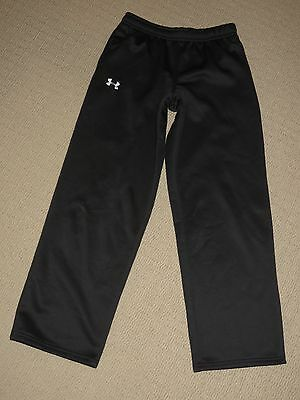 Boys Under Armour Loose Track Pants Sweatpants Youth Large YLG Black 2 Pockets