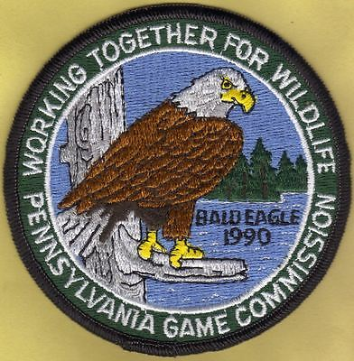 "Pa Pennsylvania Game Fish Commission NEW 1990 WTFW 4"" Bald Eagle Bird Patch"