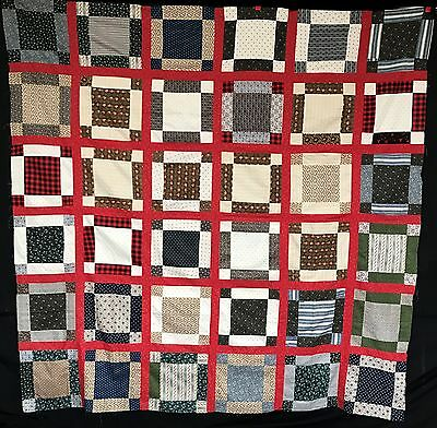 Antique 1870 Fancy Nine Patch Quilt Top
