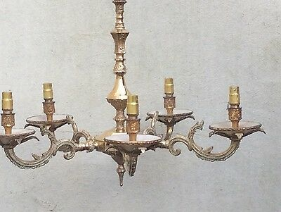 Vintage Decorative Edwardian 5 Arm Brass Ceiling Chandelier With Gilt Finished