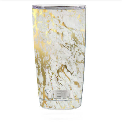 3a6c0dc633d Skin Decal for Yeti 20 oz Rambler Tumbler Can Cup / Marble White Gold Flake  Gra