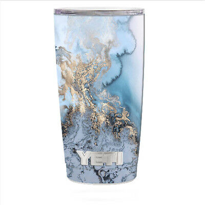 8e2d9e4627b Skin Decal for Yeti 20 oz Rambler Tumbler Can Cup / Blue Gold Grey Marble  Patte