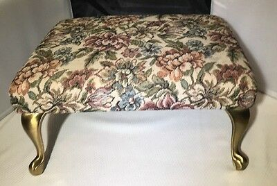 Tapestry Foot Stool Vintage Brass Metal Legs Padded Upholstery Ottoman Regency