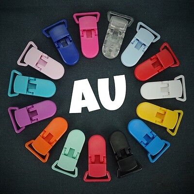50 Random Colored Plastic KAM Pacifier Suspender Dummy Clip Badge Holder AU