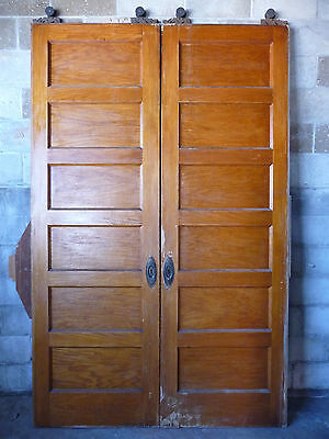 Antique Victorian Pocket Doors - Circa 1890 Oak and Fir Architectural Salvage