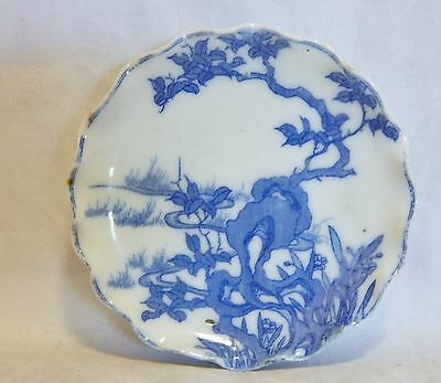 Antique Blue and White Porcelain Butter Pat Chip