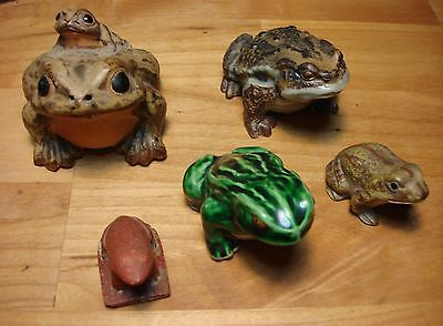 Lot/5 Vintage Frog Figurines, Stone, Clay, Porcelain, Japan ~ Instant Collection