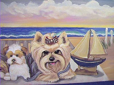 Yorkie Beach! Hand Painted Art Painting Best On Ebay Realistic Puppy