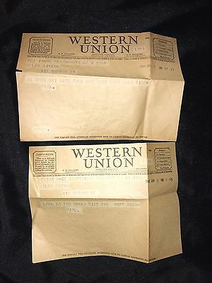 Vintage 1942 Western Union Telegram LOT OF 2!