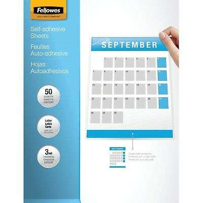Fellowes Laminating Sheets Self Adhesive Letter Size 3 Mil 50/Pack (52215... NEW