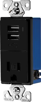 Eaton TR7740BK Combination USB Charger with Tamper Resistant Receptacle 2... NEW