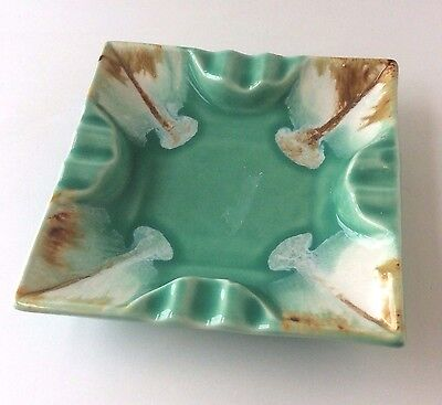 Vtg RRP Square Ashtray Roseville USA Ohio Pottery Aqua Drip Glaze Pottery