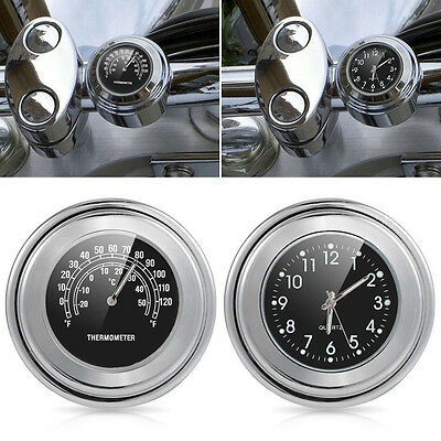 "7/8"" 1"" Motorcycle Accessory Handlebar Mount Clock Watch & Thermometer"