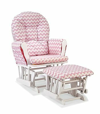 Stork Craft Custom Hoop Glider and Ottoman White/Pink Chevron Pink Chevron NEW