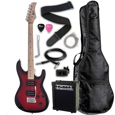 "Raptor 39"" Full Size EP39 Deluxe Electric Guitar Pack REDBURST + Digital Tuner"