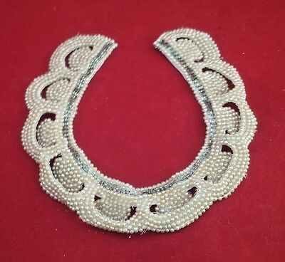 Vintage Japan Pearl Beaded Collar Necklace SILVER BEAD Open Scalloped Edge   #64