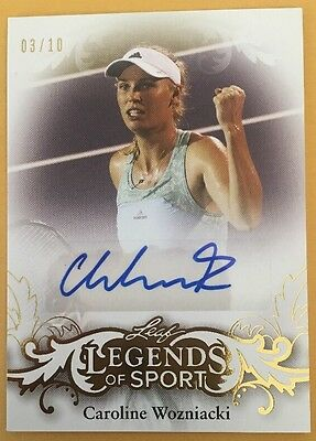 2015 Leaf Caroline Wozniacki @ 3/10 @ Gold Auto Autograph Legends Of Sport