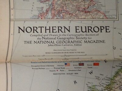 National Geographic Society Map Northern Europe Scotland August 1954 Vintage