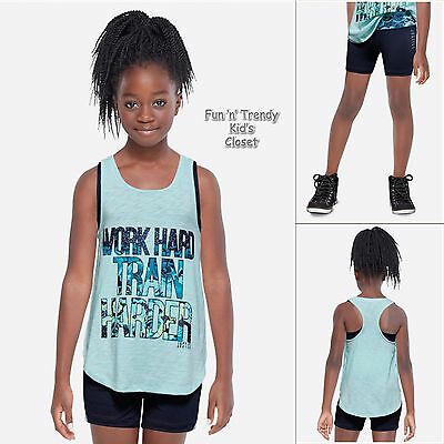 NWT Justice Girls Size 8 10 Activewear Tank Top w/ Sports Bra & Shorts 2-PC SET