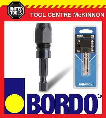 "BORDO ¼"" HEX 1/8"" SNAPPY STYLE BIT ADAPTOR / HOLDER WITH 10 x SUTTON #30 BITS"