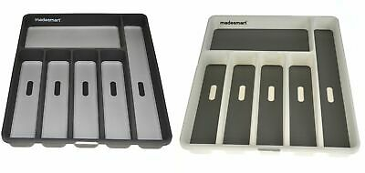 NEW MADESMART CUTLERY TRAY 6 COMPARTMENT Drawer Organiser Non Slip WHITE GREY