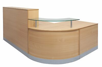 Beech Silver Glass Office Reception Corner Curved Round Counter